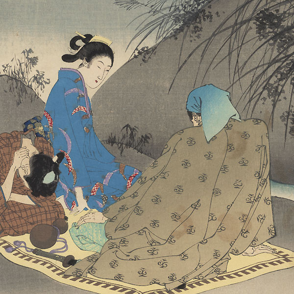 The Sound of Insects: Woman of the Kan'en Era (1748 - 1751) by Toshikata (1866 - 1908)