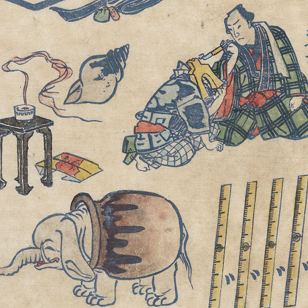 Comic Print with Elephant by Yoshifuji (1828 - 1889)