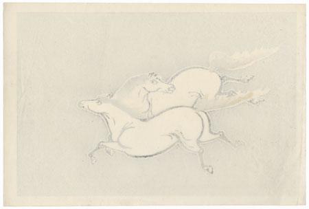 Two Horses by Tokuriki (1902 - 1999)