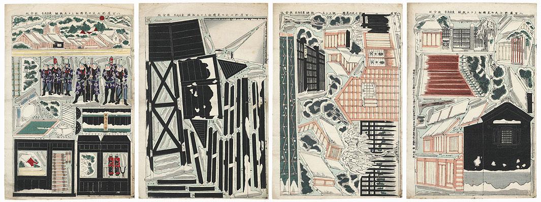 Firemen Four-panel Paper Model Print by Kunisada III (1848 - 1920)