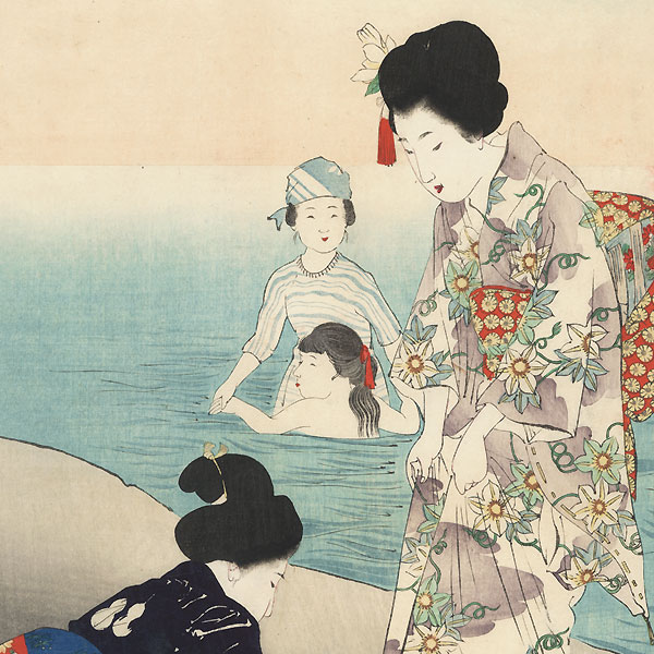 July: Bathing in the Sea by Miyagawa Shuntei (1873 - 1914)