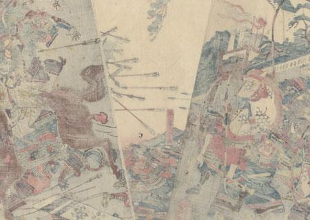 Samurai Fighting Taira no Masakado with Ghostly Troops, 1847 - 1852 by Yoshikazu (active circa 1850 - 1870)