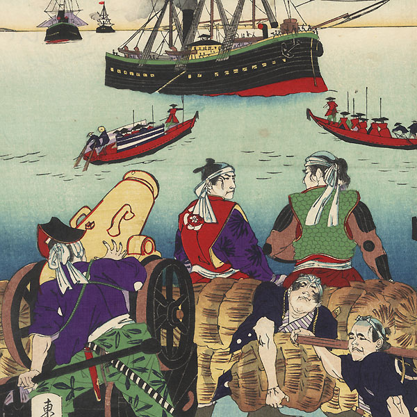 Arrival of Commodore Perry and His Black Ships in Japan, 1889 by Meiji era artist (not read)