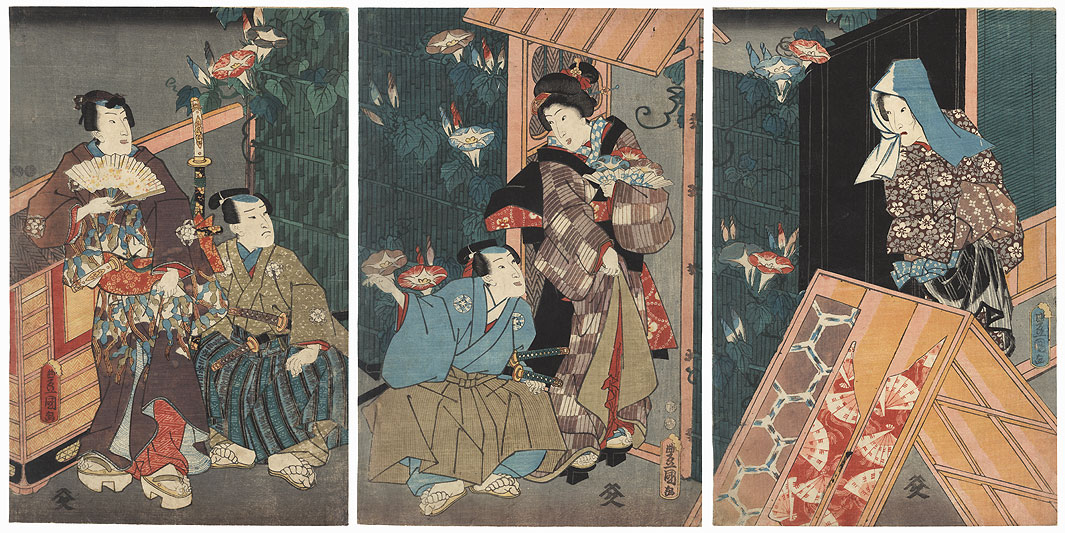 Nobleman Stopping to Visit a Beauty, 1851 by Toyokuni III/Kunisada (1786 - 1864)