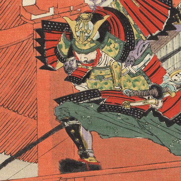 Sato Tadanobu in Yoshitsune's Armor at Mt. Yoshino by Meiji era artist (various)