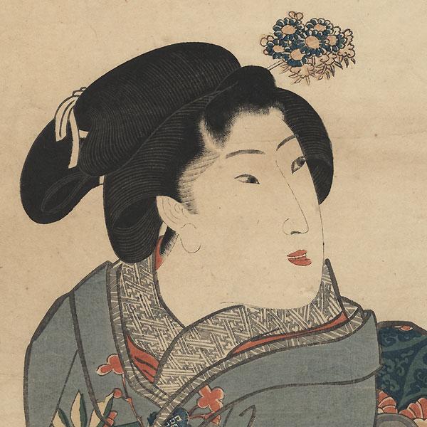 Beauty Holding a Jar Kakemono, circa late 1830s by Kuniyoshi (1797 - 1861)