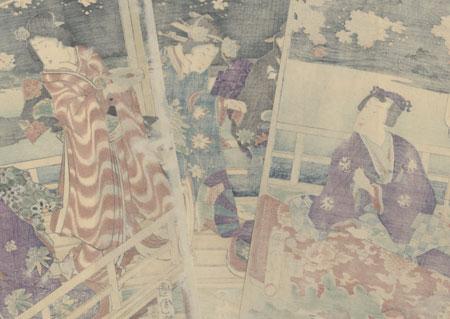 Genji Entertaining Beauties on a Verandah, 1868 by Kunichika (1835 - 1900)