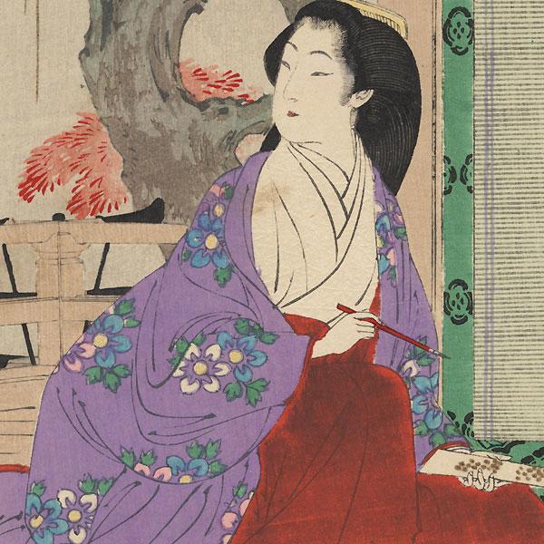 Composing Poetry: Noblewoman of the An'ei Era (1772 - 1781) by Toshikata (1866 - 1908)