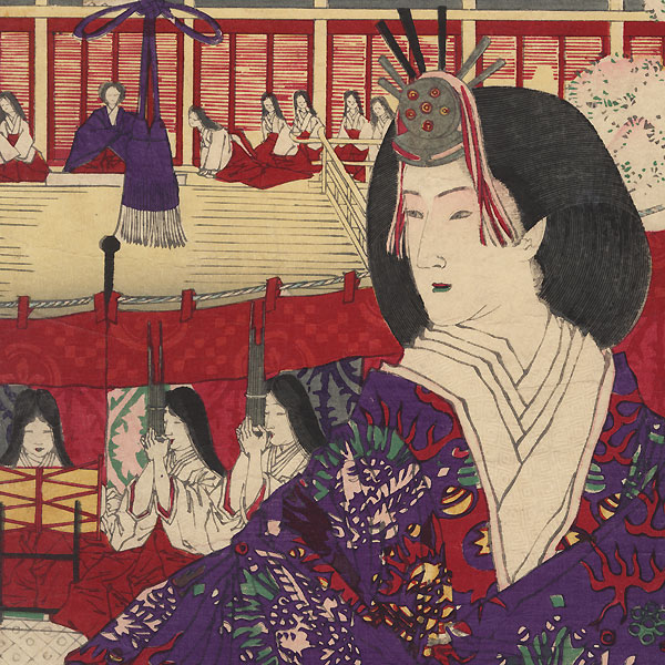 A Bugaku Performance at the Imperial Palace during the Doll Festival, 1880 by Yoshitoshi (1839 - 1892)