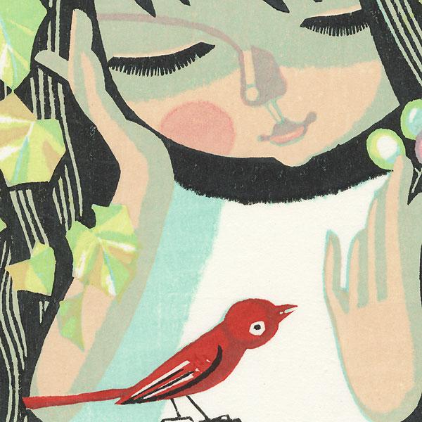 Girl and Bird by Shuzo Ikeda (born 1922)
