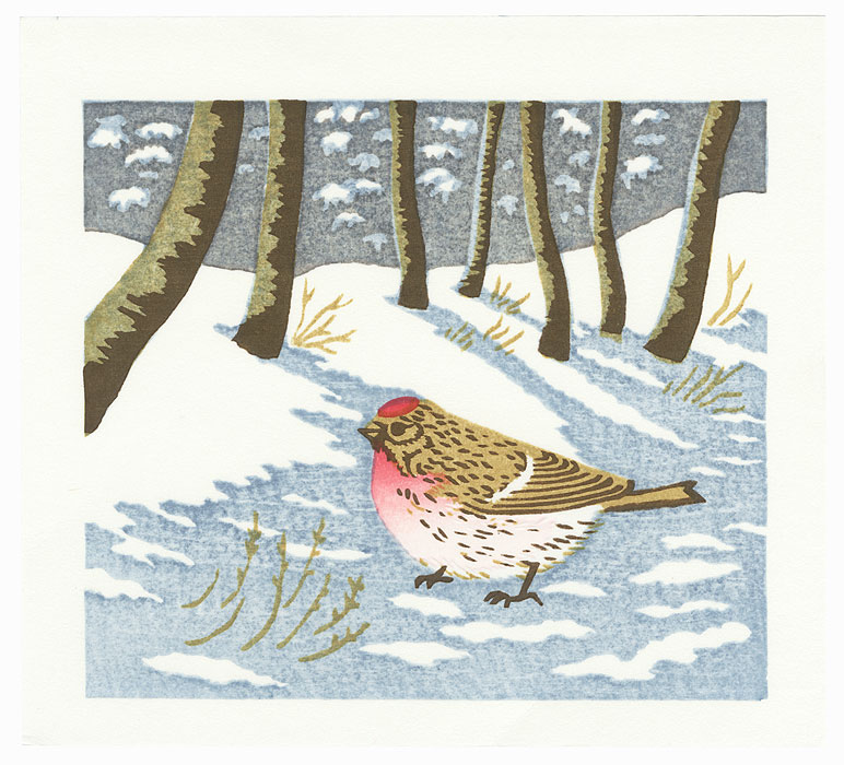 Bird in Snow by Mihoko Kasamatsu (born 1932)