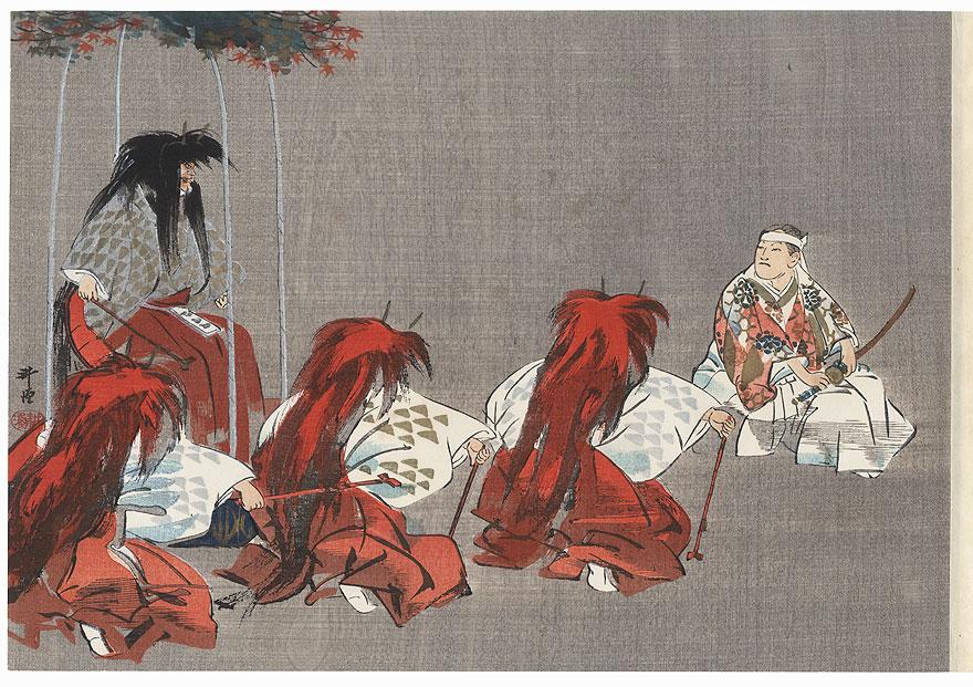 Momiji-gari (Maple Viewing) by Tsukioka Kogyo (1869 - 1927)