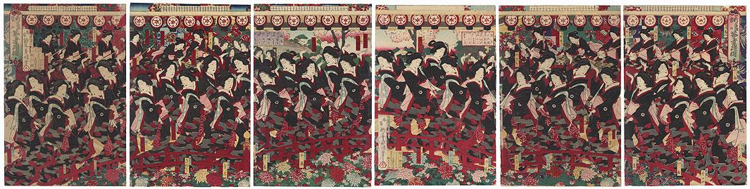 Geisha Dancing, 1883 by Yoshiharu (1828 - 1888)