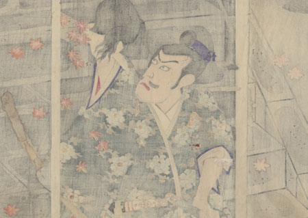 Ichikawa Danjuro as Endo Musha Morito Holding the Head of Kesa Gozen, 1889 by Kunichika (1835 - 1900)