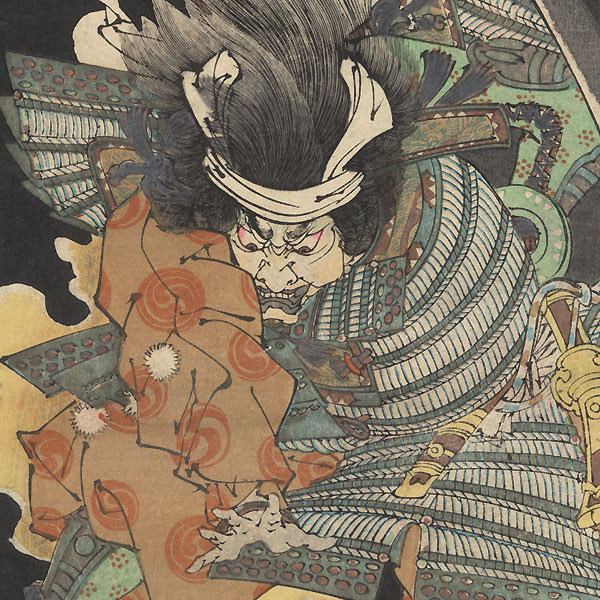 The Ghost of Wicked Genta Yoshihira Attacking Namba Jiro at Nunobiki Waterfall, No. 19, 1889 by Yoshitoshi (1839 - 1892)