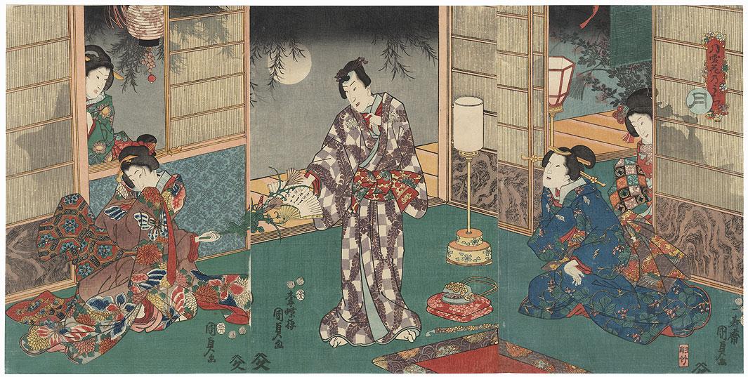 Prince Genji on Moonlit Night by Kunisada II (1823 - 1880)