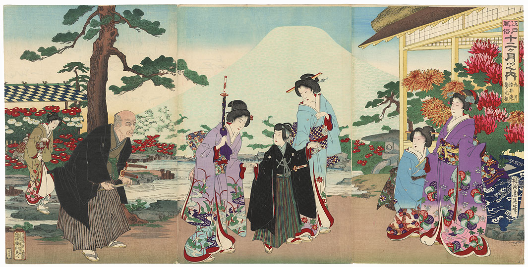 The Ninth Month: The Chrysanthemum Festival, 1889 by Chikanobu (1838 - 1912)