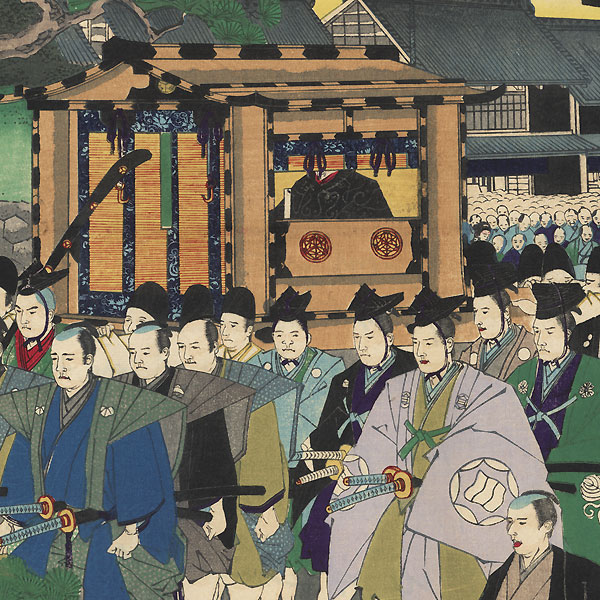 A Procession of Feudal Lords Visiting the Temple at Ueno, 1889 by Chikanobu (1838 - 1912)