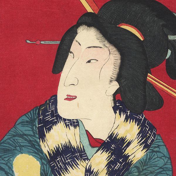 Beauty with a Muffler by Kunisada III (1848 - 1920)