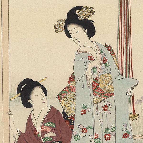 Viewing an Iris Garden, 1896 by Chikanobu (1838 - 1912)