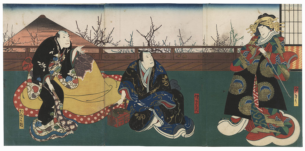 Scene from Kuruwa Bunsho, 1850 by Hirosada (active circa 1847 - 1863)
