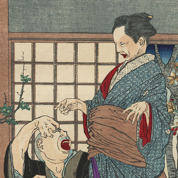 The Flower Arranger Sugihara Mino Astonished That Her Arrangement of Plum Blossoms is Bearing Fruit by Yoshitoshi (1839 - 1892)