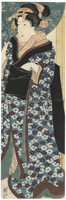 Beauty Standing in a Doorway Kakemono, circa 1825 - 1835 by Eisen (1790 - 1848)