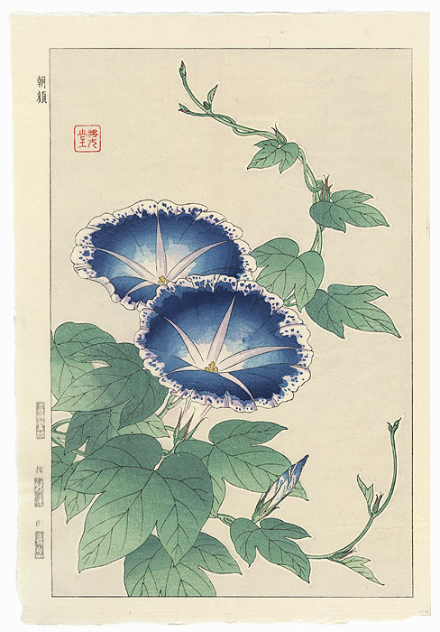 Blue Morning Glories by Kawarazaki Shodo (1889 - 1973)