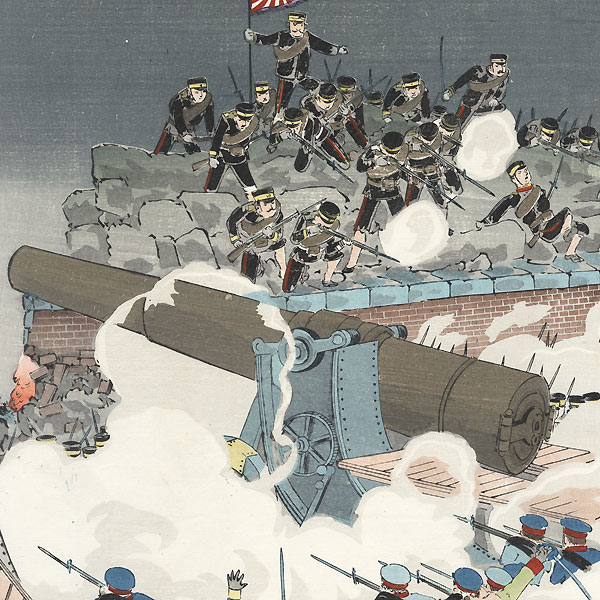 The Great Victory of the Japanese Army in the Battle of Nanshan, 1904 by Kiyochika (1847 - 1915)