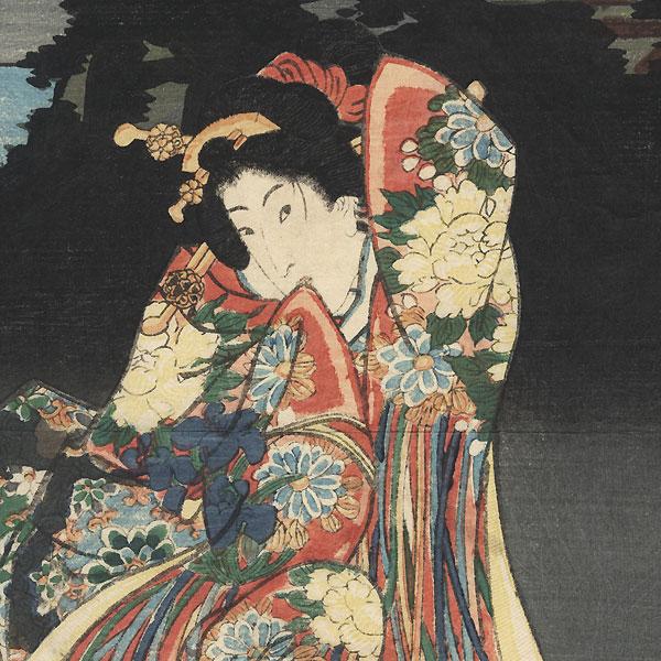 Autumn Moon at Ishiyama Temple, 1847 - 1852 by Toyokuni III/Kunisada (1786 - 1864)