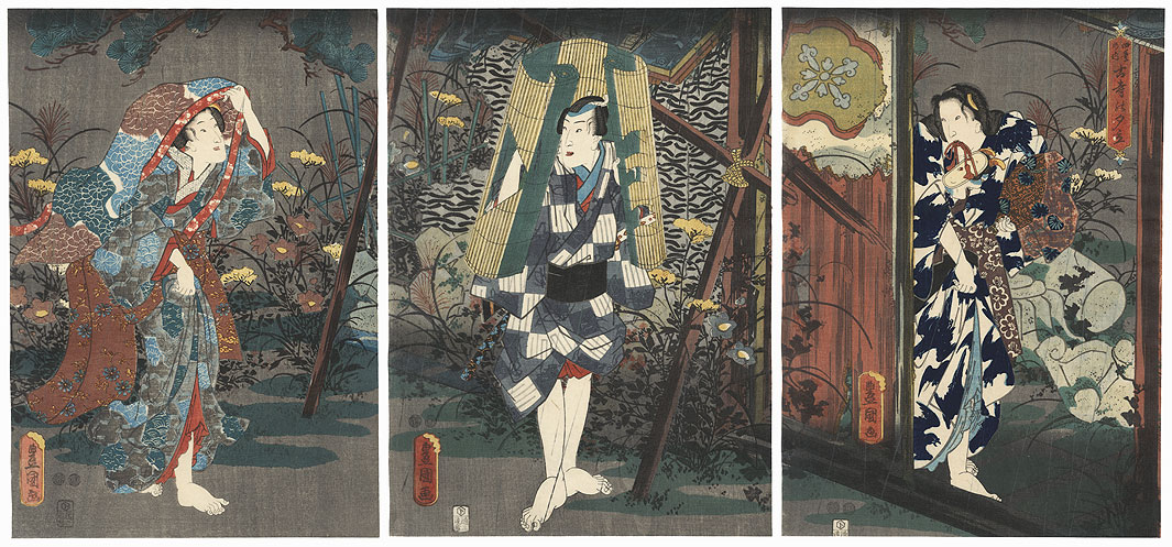 Shower at the Ruined Temple, 1847 - 1852 by Toyokuni III/Kunisada (1786 - 1864)