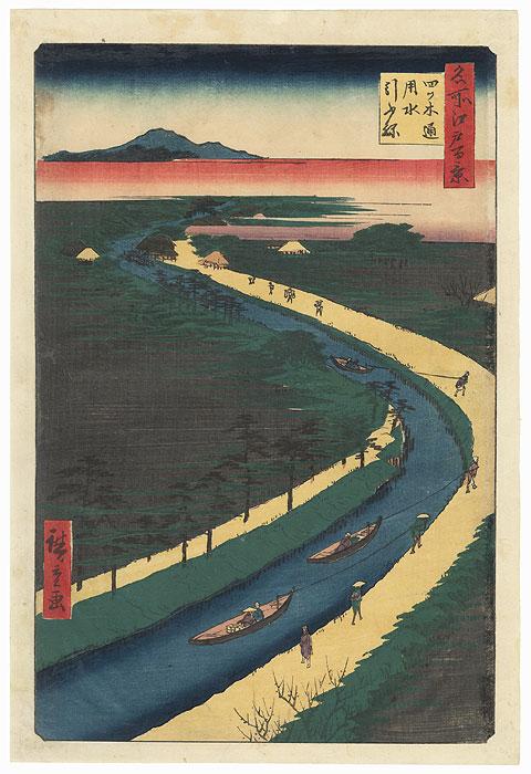 Towboats Along the Yotsugi-dori Canal, 1857 by Hiroshige (1797 - 1858)