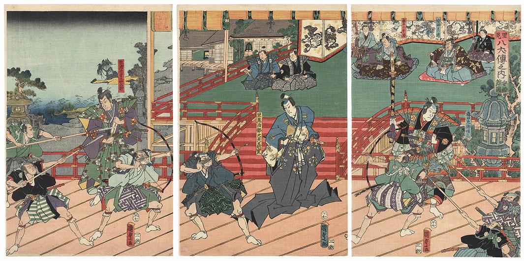 Attacking a Samurai at a Palace, 1858 by Kunisada II (1823 - 1880)