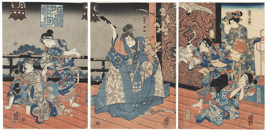 Taira no Tadakuni's Daughter Shiranui, Tametomo, and Ladies-in-waiting Tossing Cherry Blossoms by Kuniyoshi (1797 - 1861)