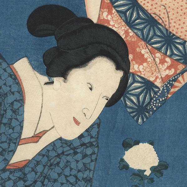 Beauty Admiring a Chrysanthemum by Toyokuni III/Kunisada (1786 - 1864)
