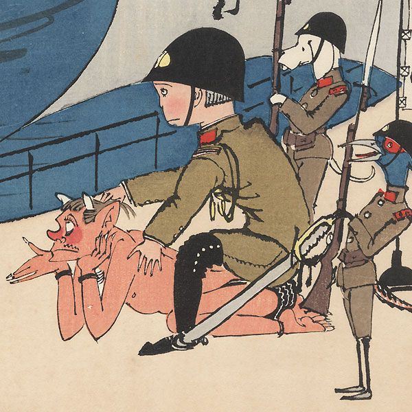 Photographing a Soldier Sitting on a Demon by Shin-hanga & Modern artist (not read)