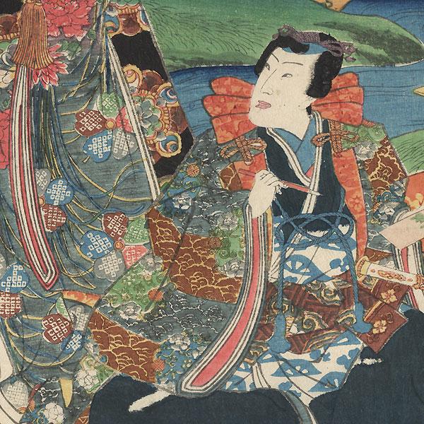 Playing a Poetry Game by Toyokuni III/Kunisada (1786 - 1864)