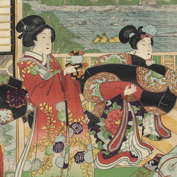 Prince Genji and Beauties Relaxing, 1867 by Toyokuni III/Kunisada (1786 - 1864)