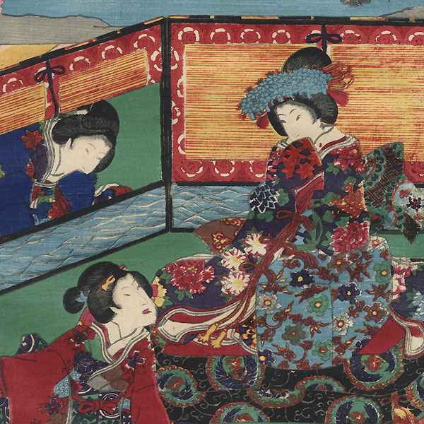 Banquet of the Shining Prince at the Flower Palace, 1856 by Toyokuni III/Kunisada (1786 - 1864)