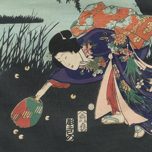 Catching Fireflies by the Uji River in Yamashiro, 1861 by Hiroshige II (1826 - 1869) and Toyokuni III/Kunisada (1786 - 1864)