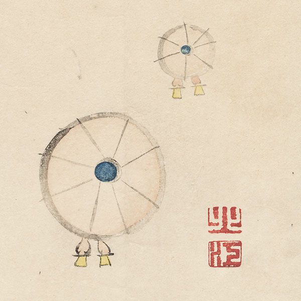 Umbrellas Surimono by Meiji era artist (not read)