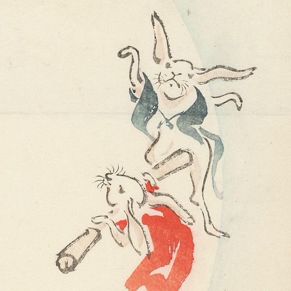 Rabbits and Full Moon Surimono by Meiji era artist (not read)