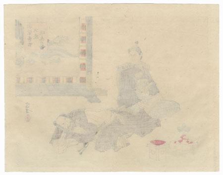 Samurai and Man Napping by Meiji era artist (various)