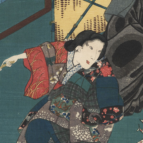 The Syllable Yu for Potted Trees in Snow (Yuki no hachinoki): Bando Kamezo I as Tokiyori and Onoe Kikugoro IV as Shirotae by Toyokuni III/Kunisada (1786 - 1864)