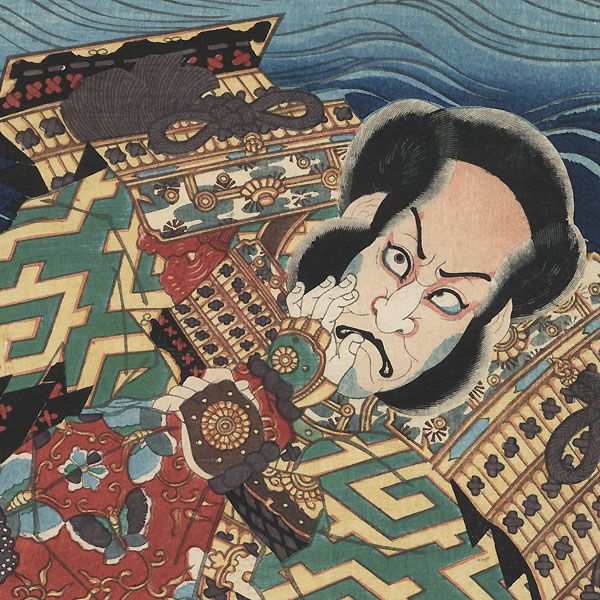 The Syllable I for the Battle of Ichi-no-Tani: Ichikawa Ebizo V as Kumagai and Kawarazaki Gonjuro I as Atsumori by Toyokuni III/Kunisada (1786 - 1864)