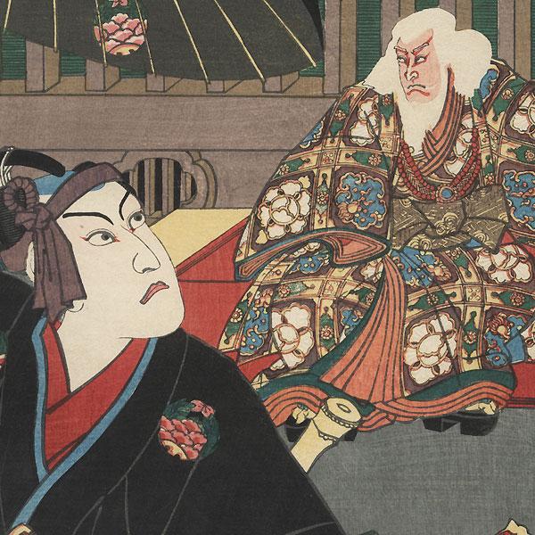 The Syllable E for Cherry Blossoms of Edo (Edozakura): Kawarazaki Gonjuro I as Sukeroku and Ichikawa Kodanji IV as Hige no Ikyu by Toyokuni III/Kunisada (1786 - 1864)
