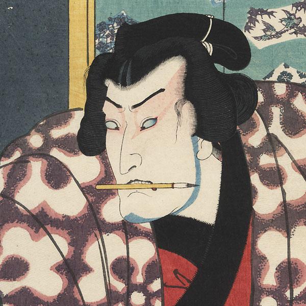The Syllable Ni for Mirror of Two Generations (Nidai kagami): Bando Mitsugoro III as Akitsushima Kuniemon by Toyokuni III/Kunisada (1786 - 1864)