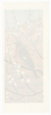 Bird on a Pussy Willow by Mihoko Kasamatsu (born 1932)