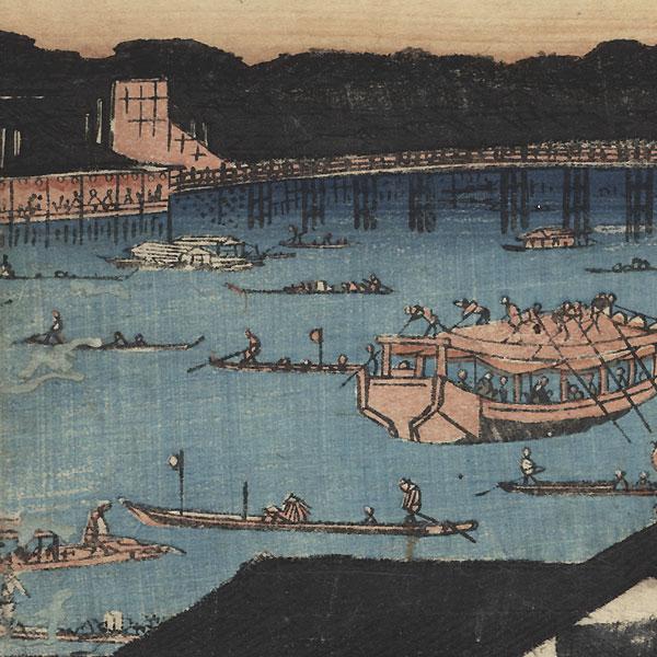 Great Fireworks Display at Ryogoku Bridge, circa 1840 - 1842 by Hiroshige (1797 - 1858)