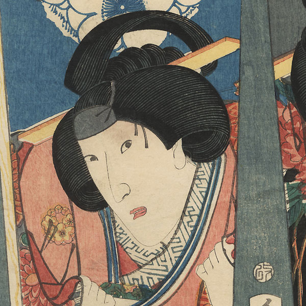 Portraits of Onoe and Iwafuji on Battledores, 1854 by Toyokuni III/Kunisada (1786 - 1864)